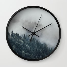 The mist moving into the forest. Wall Clock