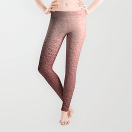 Rose  quartz- pink metal foil background Leggings