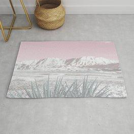 Mojave Snow // Red Rock Canyon Las Vegas Desert Landscape Light Pink Sky Vintage Photography Rug