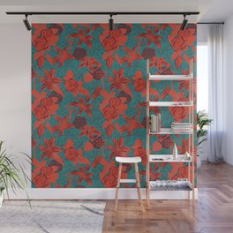 Linocut look in blue with roses Wall Mural