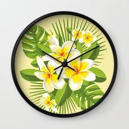Tropical Bouquet. Plumeria Wall Clock