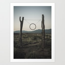 A Rustic Sign on a Fence in New Mexico Art Print