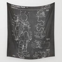Nasa Apollo Spacesuite Patent - Nasa Astronaut Art - Black Chalkboard Wall Tapestry