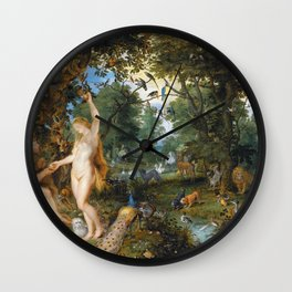 Jan Brueghel de Oude and Peter Paul Rubens - The Garden of Eden with the Fall of Man Wall Clock