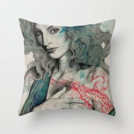 SGNL>05 (seminude street art portrait, topless lady with swan tattoo) Throw Pillow