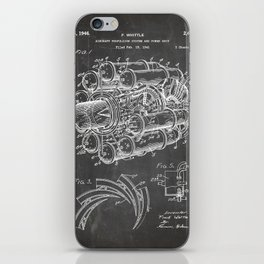 Airplane Jet Engine Patent - Airline Engine Art - Black Chalkboard iPhone Skin