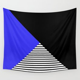 Blue & Black Geometric Abstraction Wall Tapestry