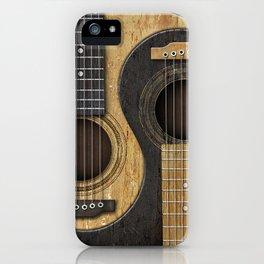 Aged Vintage Acoustic Guitars Yin Yang iPhone Case