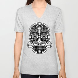 Black Skull  White Suits Unisex V-Neck