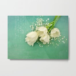 French White Tulips and Baby's Breath Flowers Bouquet Spring Botanical 2015 Metal Print