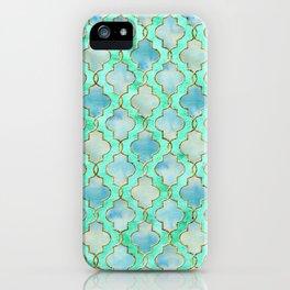 Luxury Aqua Teal Mint and Gold oriental quatrefoil pattern iPhone Case