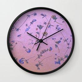 Vintage Lilac Wildflowers Wall Clock