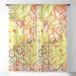 Fruity geometric abstract Sheer Curtain