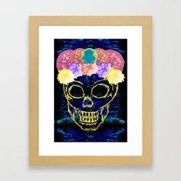 Floral Skull Print Framed Art Print
