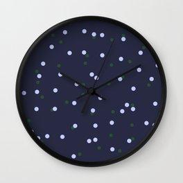 Scattered polka dot print - Navy Wall Clock