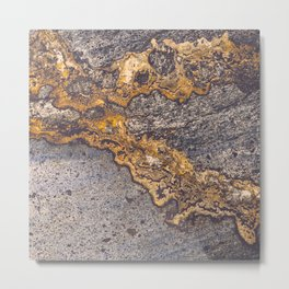 Gold Inlay Marble II Metal Print