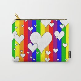 Gay flag with the colors of the rainbow with hearts Carry-All Pouch