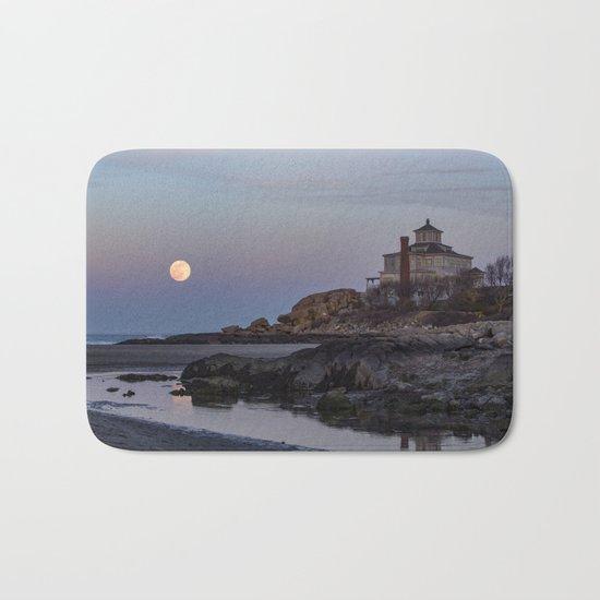 Full moon at Good Harbor Beach Bath Mat