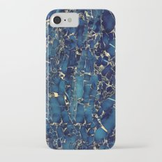 Dark blue stone marble abstract texture with gold streaks Slim Case iPhone 7