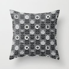 Scandi - modern flower floral pattern scandinavia design retro mid century print monochromatic grey  Throw Pillow