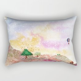 Mystical Landscape Watercolor. Rectangular Pillow