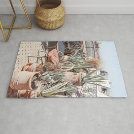 Tropical Rooftop In Marrakech Photo | Cactus Plants Boho Art Print | Morocco Travel Photography Rug