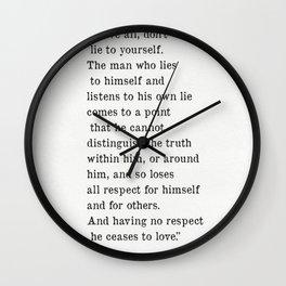 Fyodor Dostoyevsky quote Wall Clock