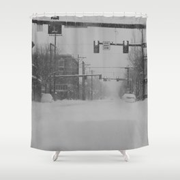 Snow Storm in Downtown - One Way Shower Curtain