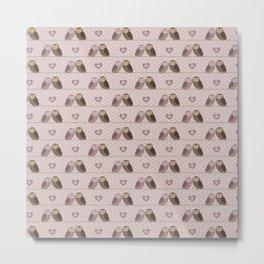 Owls in love (pink) Metal Print