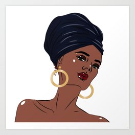African american black beautiful woman Art Print