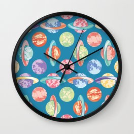 Colorful Planets Pattern Wall Clock