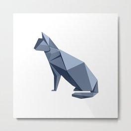 Origami Cat Metal Print