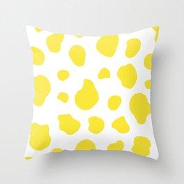Yellow Cow Print Background Throw Pillow
