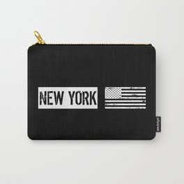 Black & White U.S. Flag: New York Carry-All Pouch