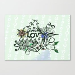 """Pen and ink drawing illustration,""""LOVE"""" wall art, home decor design Canvas Print"""