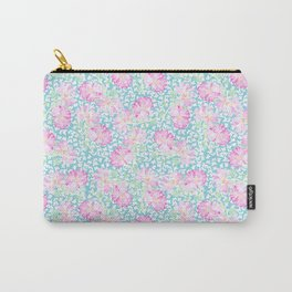 Lipstick Pink Roses and Butterflies Carry-All Pouch