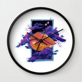Neon Lip Gloss on white Wall Clock