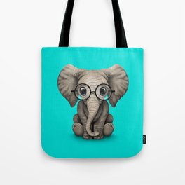Cute Baby Elephant Calf with Reading Glasses on Blue Tote Bag