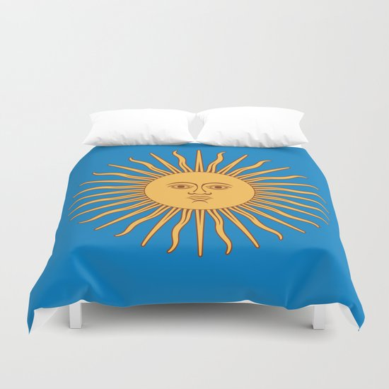 argentina flag sun Duvet Cover