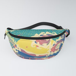 Stylized trees and stormy ocean or sea at sunset Fanny Pack