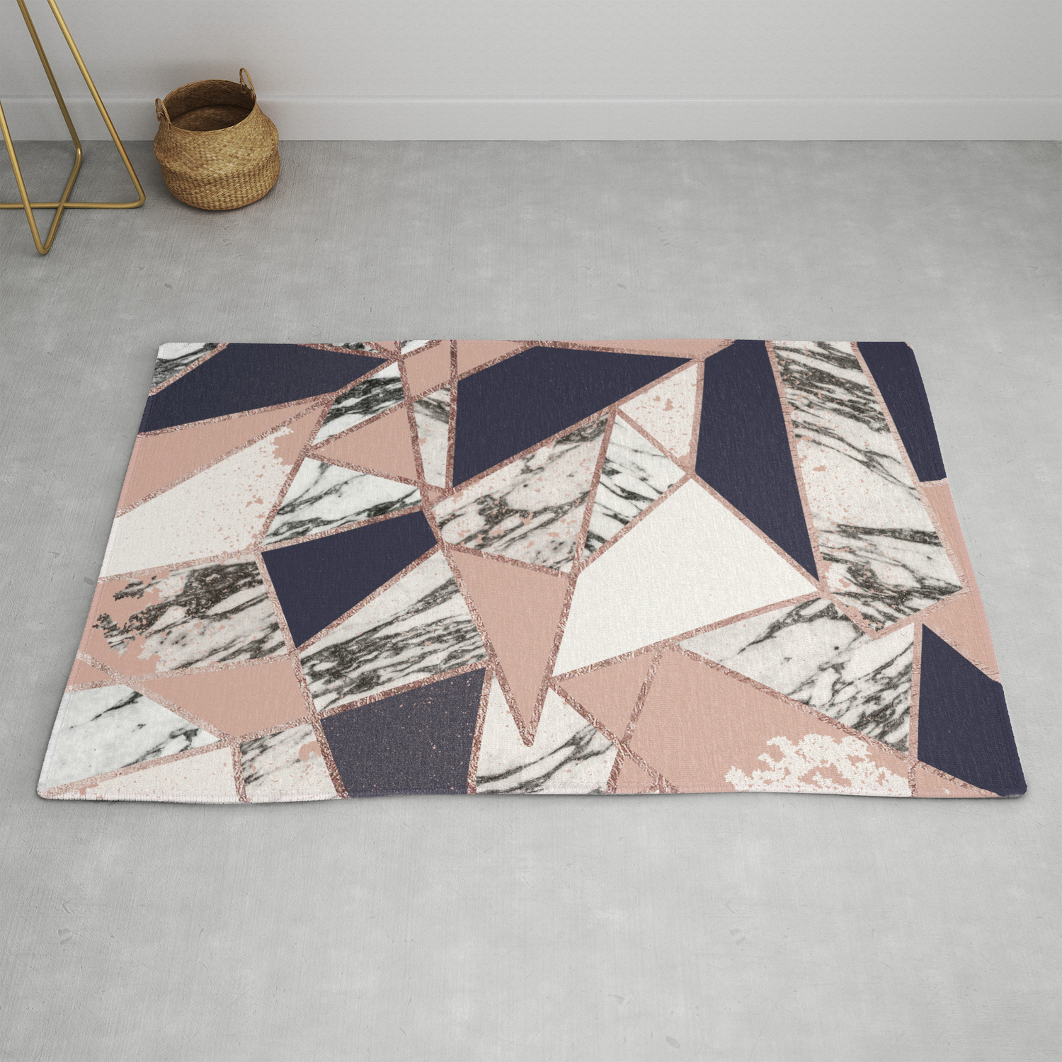 Geometric Navy Blue Peach Marble Rose Gold Triangle Rug By Blackstrawberry
