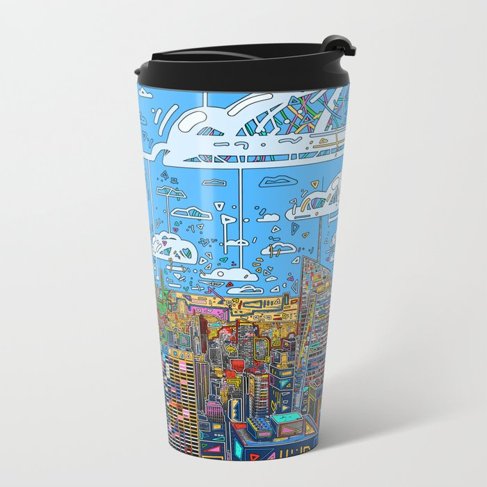 new york city skyline colorful Metal Travel Mug
