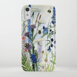 Wildflower in Garden Watercolor Flower Illustration Painting iPhone Case
