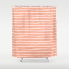 Sweet Life Thin Stripes Peach Coral Pink Shower Curtain