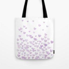 Hearts falling painted pastels purple heart pattern minimal art print nursery baby art Tote Bag