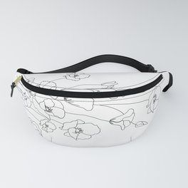 Poppy Flowers Line Art Fanny Pack