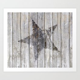Grunge Star on old weathered grey wood Art Print