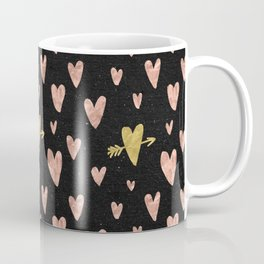 Rose Gold Hearts with Yellow Gold Hearts on Black Coffee Mug