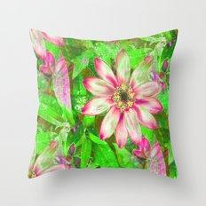 Pretty Pink Modern Floral Throw Pillow
