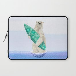 Polar bear & Surf (green) Laptop Sleeve